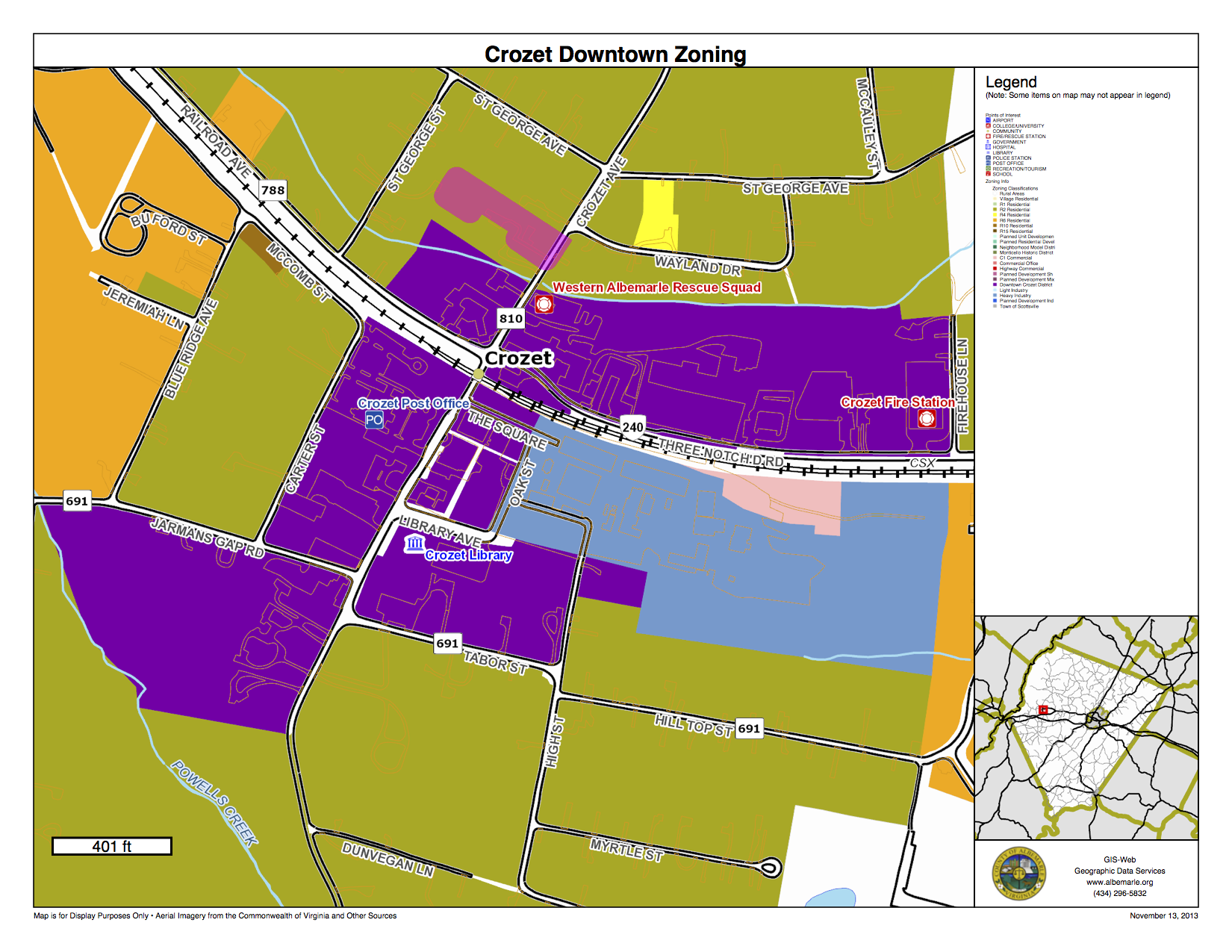 Downtown Crozet Zoning Map